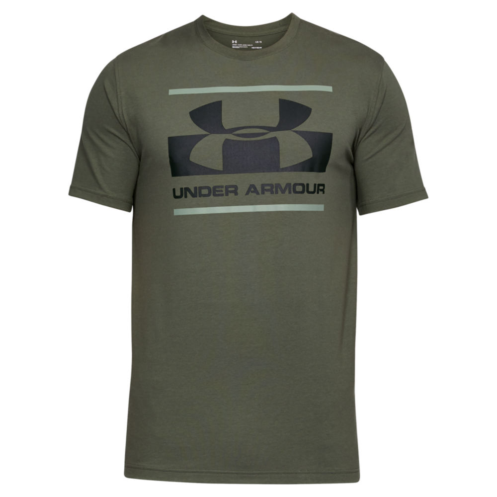 Under Armour Men's Blocked Sportstyle Logo Tee Green Knit Tops L 713102OLVL
