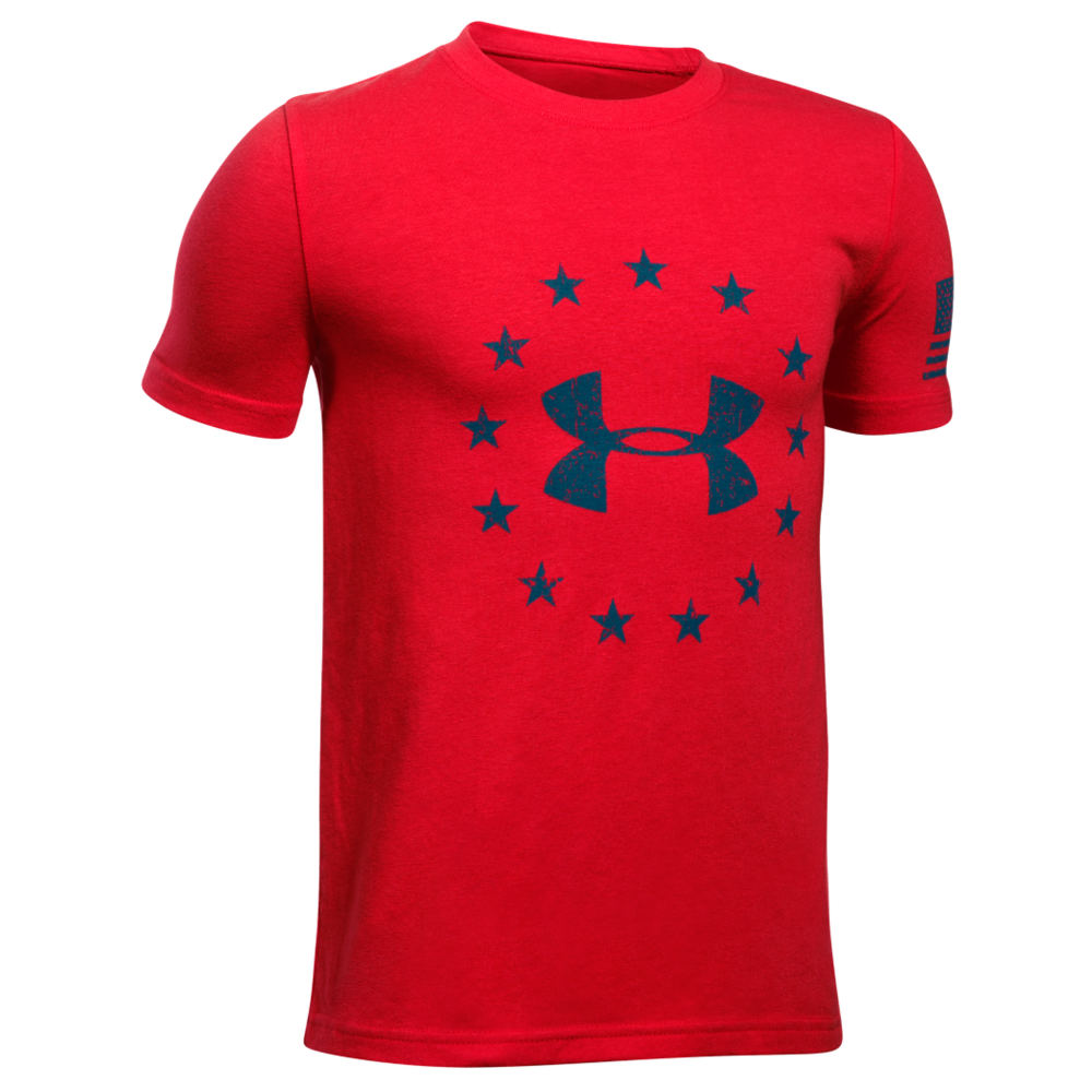 Under Armour Boys' Freedom Logo Tee 2.0 Red Knit Tops S 713118REDS
