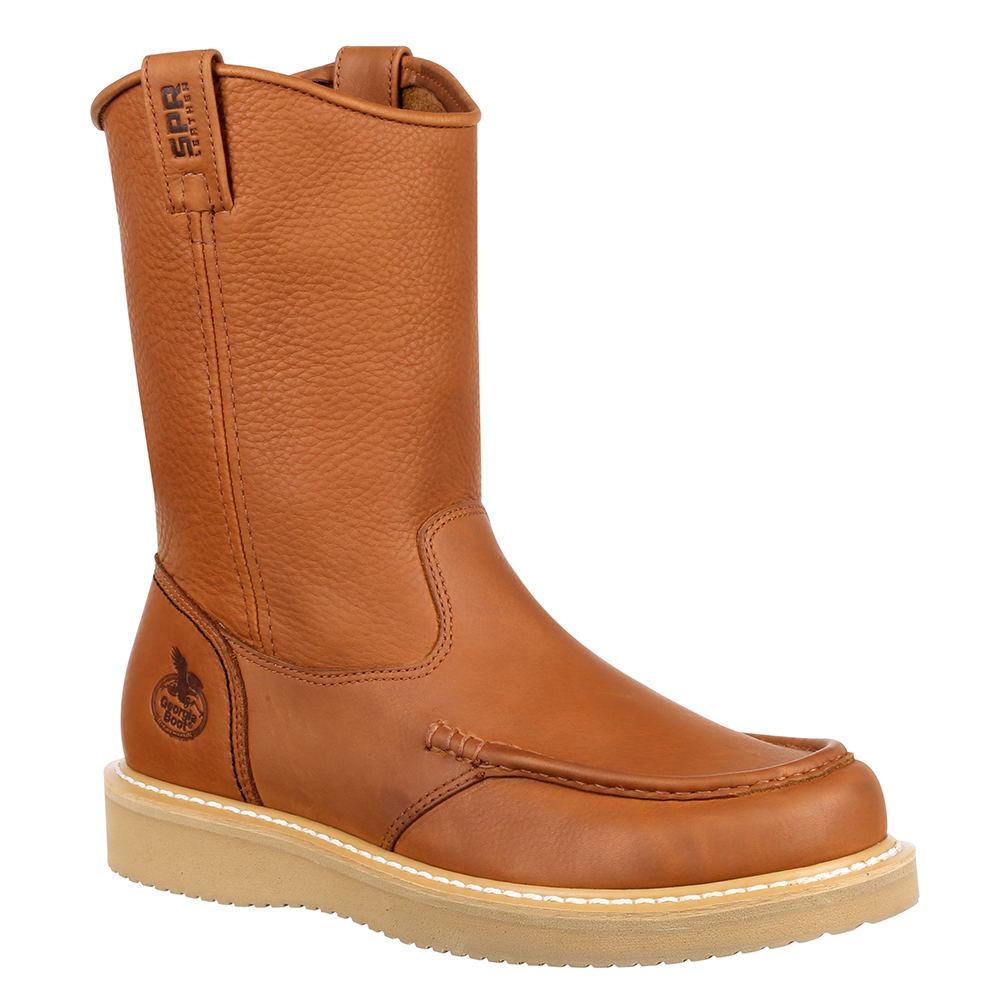 """Georgia Boot Moc Toe Wedge 10"""" Men's Brown Boot 8 M"""