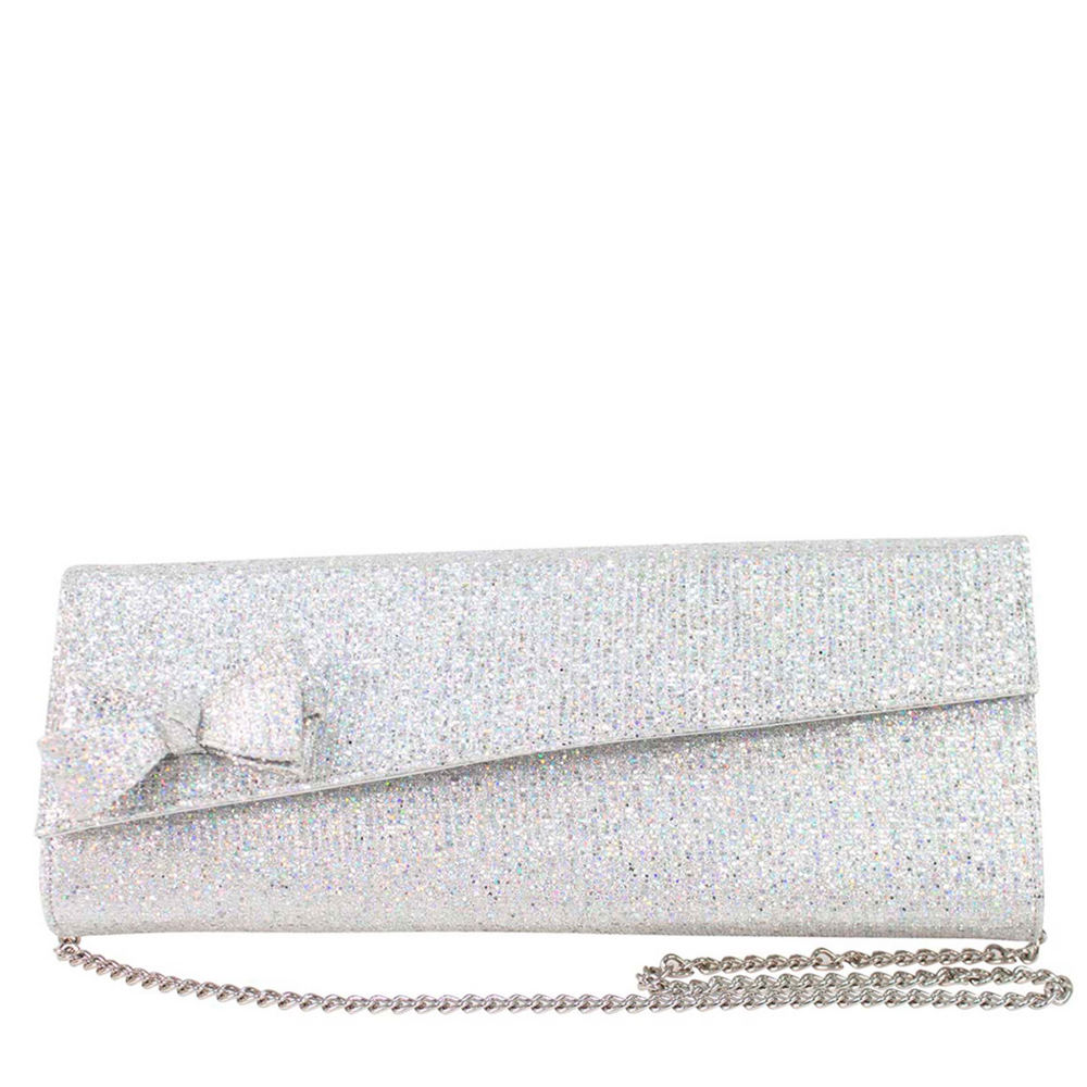 J. Renee Glitter Fabric Clutch Silver Bags No Size