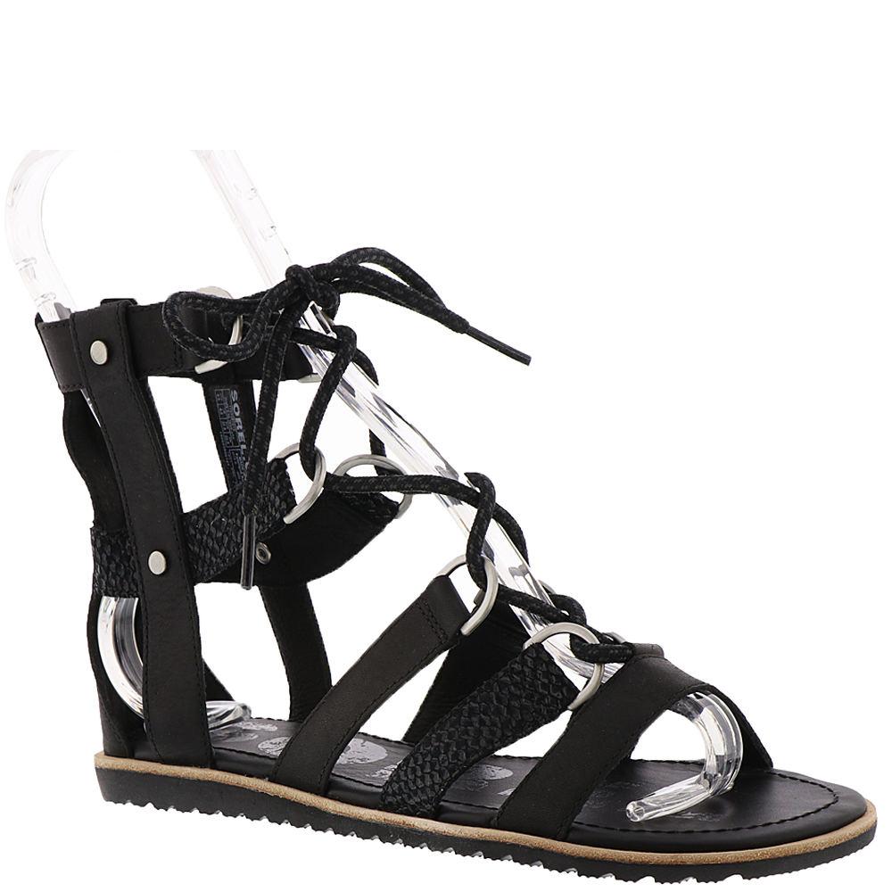 Sorel Ella Lace Up Women's Black Sandal 7 M 552651BLK070M