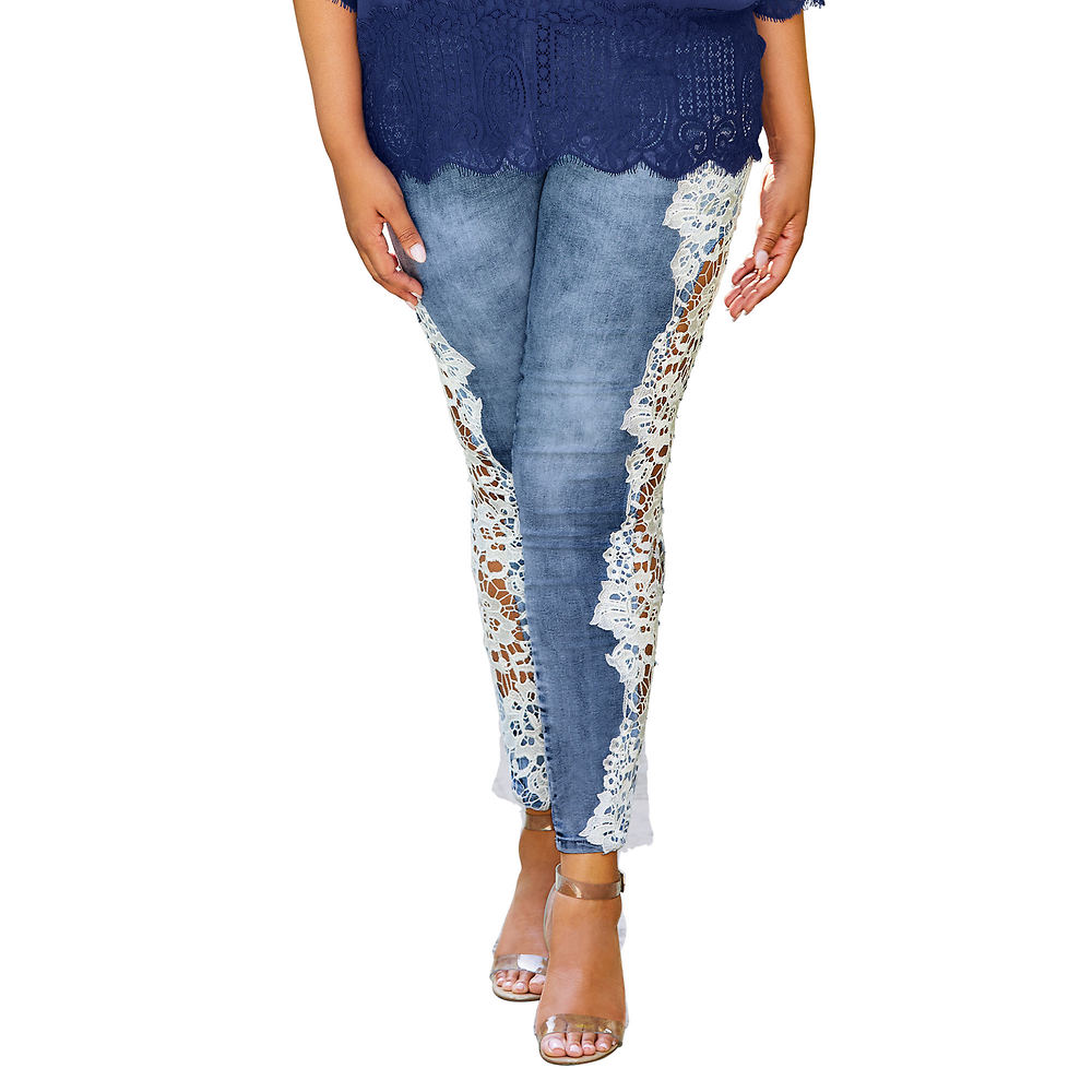 Lace Cutout Jean Blue Pants 16-Regular
