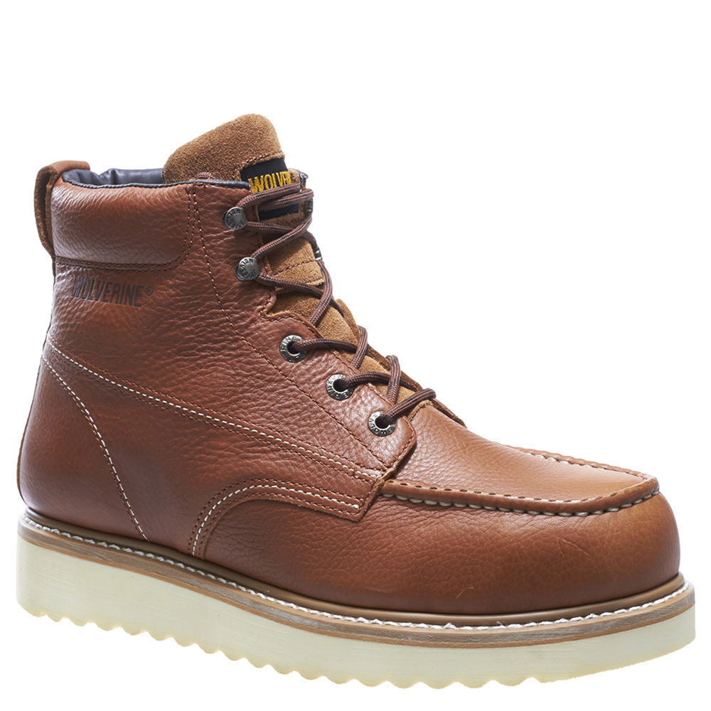 "Wolverine Work Wedge Steel Toe 6"" Men's Tan Boot 10.5 W"