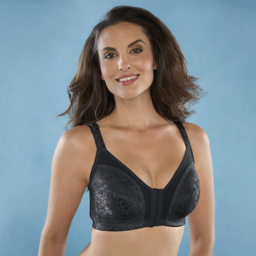 Cortland Intimates Front-Hook Printed Soft Cup Bra Black Bras 38-C 561141BLK380C