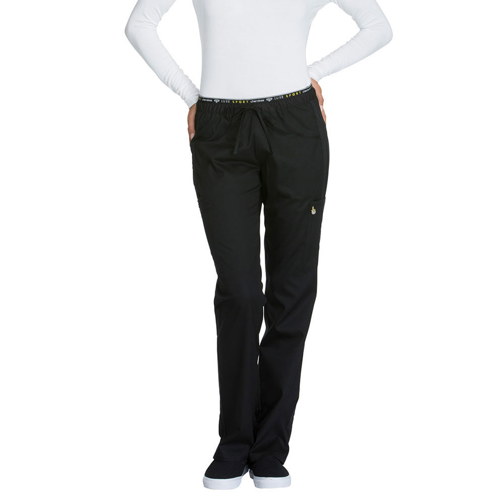 Cherokee Medical Uniforms LUXE SPORT Mid Rise Draw Pant Black Pants M-Regular 714138BLKMEDRG