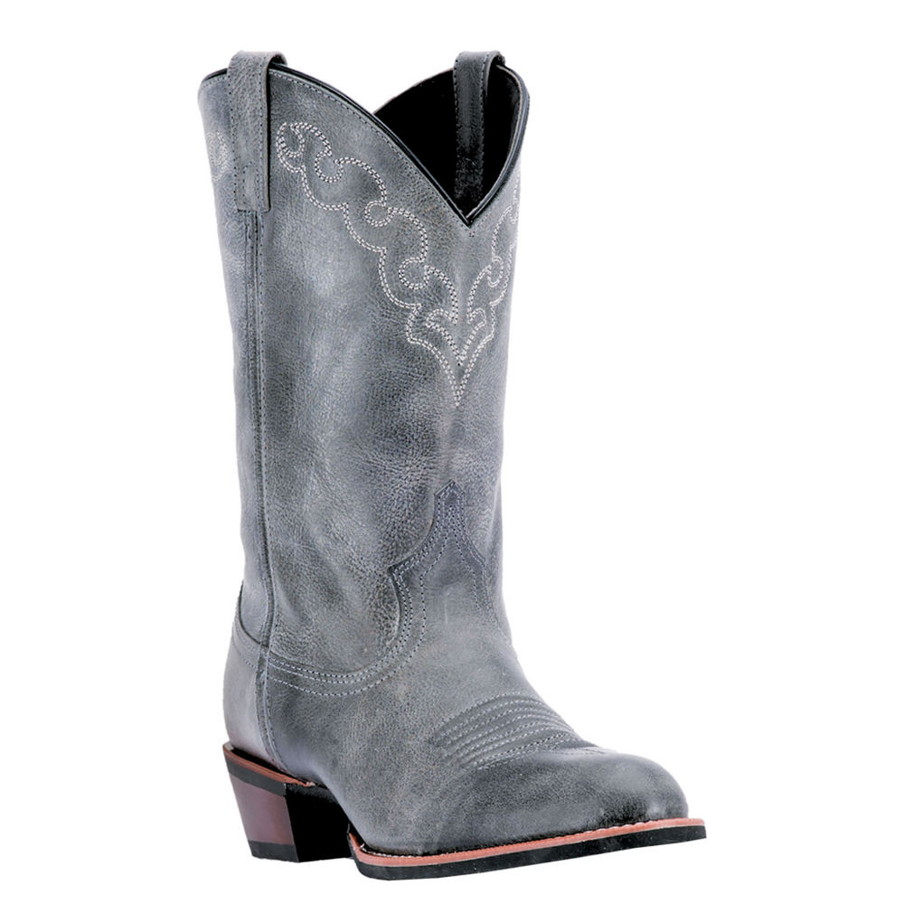 Dingo Gray Embroidered Koval Broad Toe Leather Boot - Men