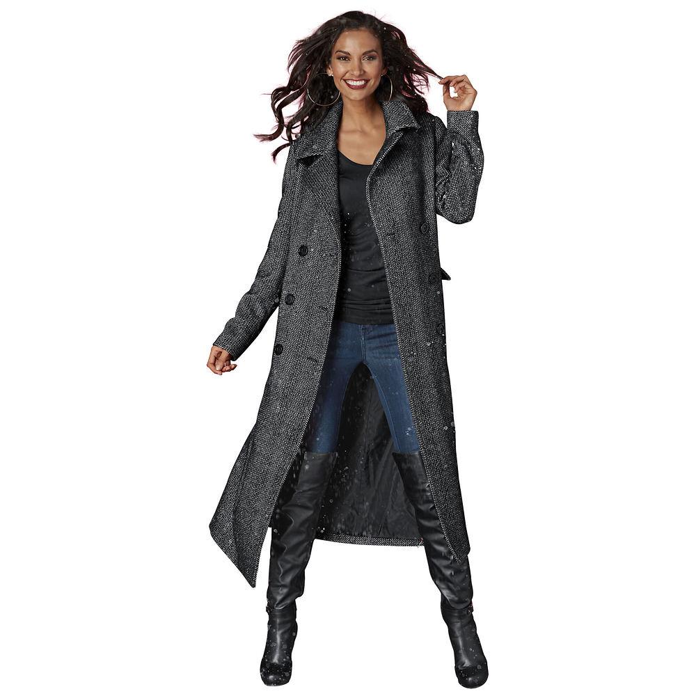 Patterned Long Coat Multi Coats 2X 714381TWD2X