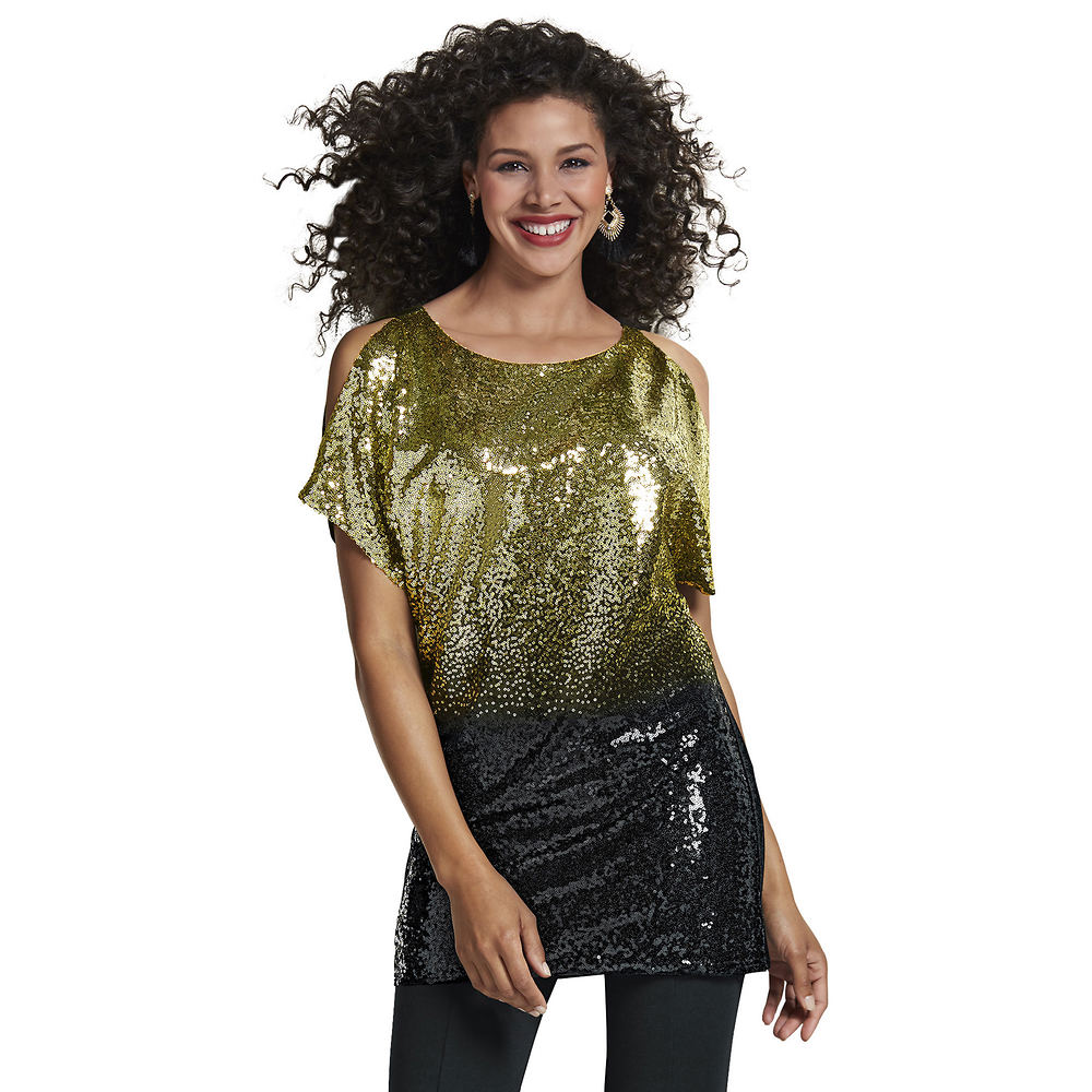 Masseys Ombré Sequin Tunic Black Shirts 2X