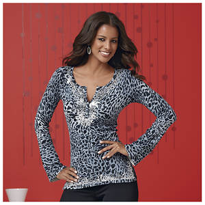 Leopard Sequin Tunic Sweater