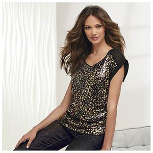Black Gold Sequin Top