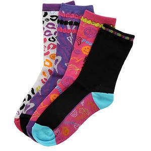 Stride Rite Girls' 4-Pack Sassy Girl Crew Socks (Toddler-Youth)