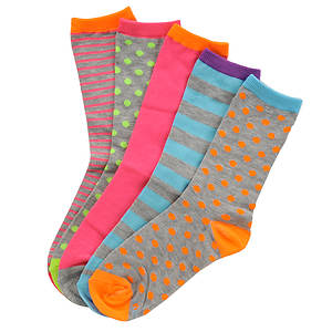 Stride Rite Girls' 5-Pack Katie Crew Socks (Toddler-Youth)