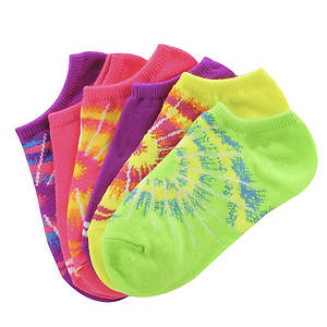 Sof Sole Girls' 6-Pack Spiral Tie Dye No Show Socks