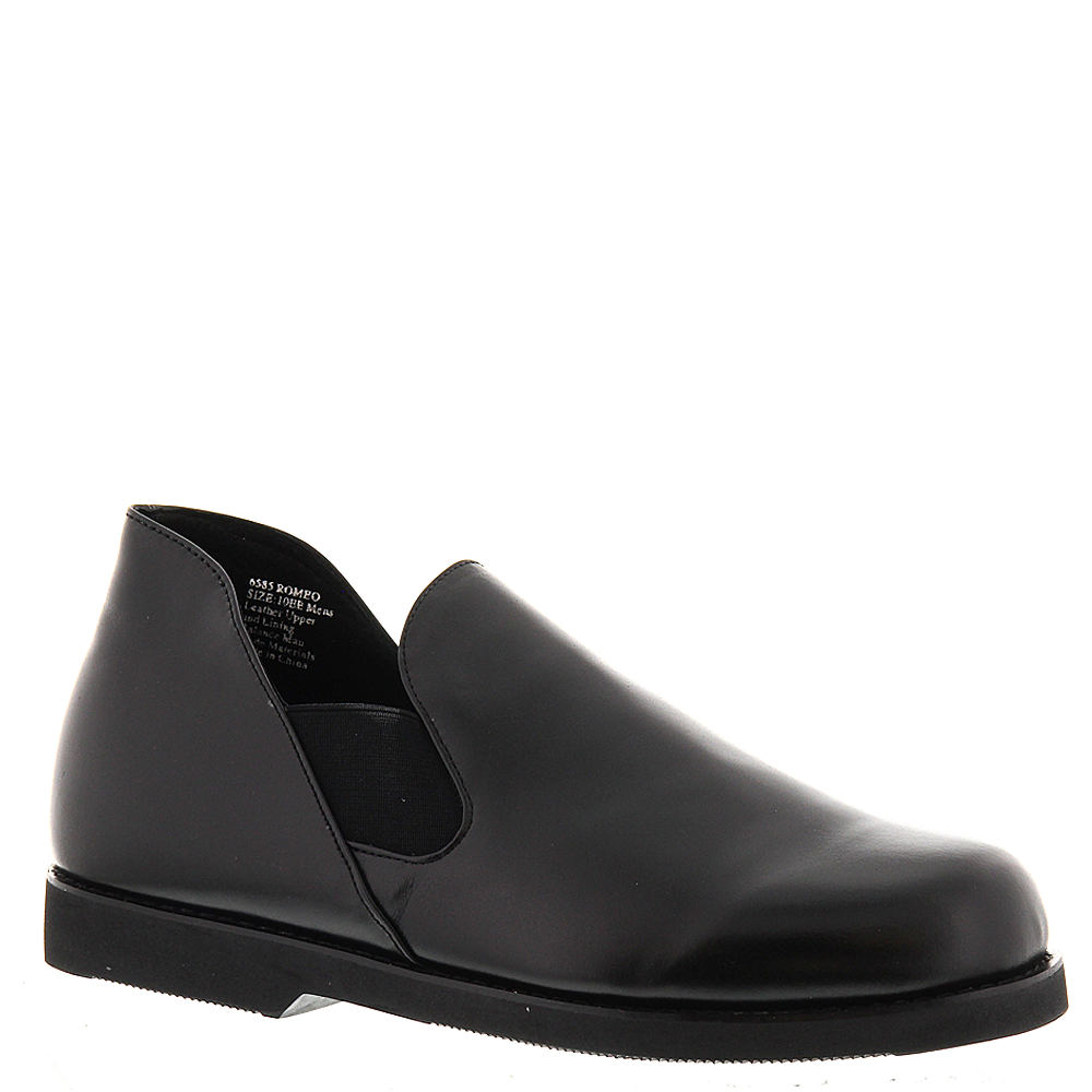 Men's 1950s Shoes Styles- Classics to Saddles to Rockabilly Mens Romeo Black Slipper 14 D $49.95 AT vintagedancer.com