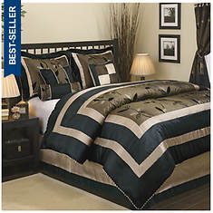 7-Piece Contemporary Bed Set With 3 Decorator Pillows