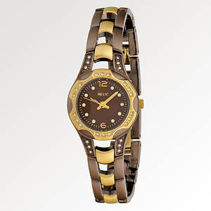 Relic Women's Charolette Two-Tone Watch (Brn/Gld)