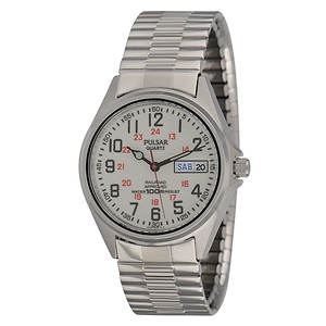Pulsar Men's Silver Watch With Lumibrite Dial