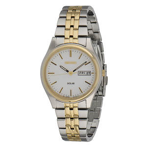 Seiko Men's Solar Watch With Silver Dial