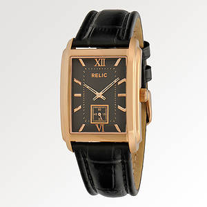 Relic Men's Rose And Leather Watch