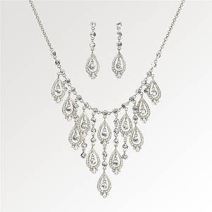 Crystal Chandelier Necklace And Earring Set