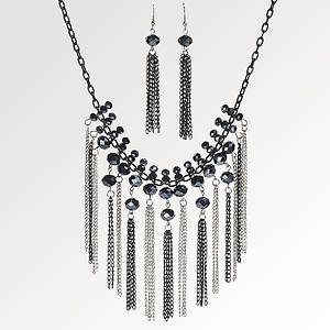 Fringed Chain Necklace & Earrings Set