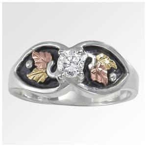 Black Hills Gold Antiqued CZ Ring