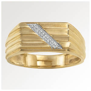 Men's 14K Gold Plated Diamond Ring