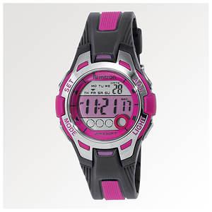 Armitron Pink Dial Black Resin Strap Digital Chronograph Sport Watch