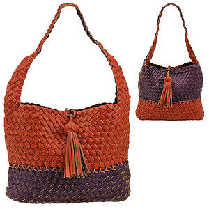 SR Squared by Sondra Roberts Woven Pebble Hobo Bag