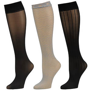 Chinese Laundry Women's 3536 3-Pack Knee High Trouser Socks