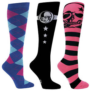Sock It To Me Women's 3-Pack Derby Knee High Socks