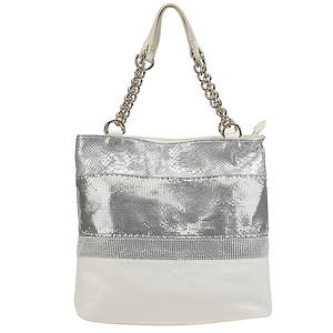 SR Squared by Sondra Roberts Nappa/Metal Mesh Shopper Bag