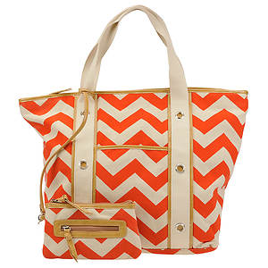 SR Squared by Sondra Roberts Chevron Canvas Tote Bag