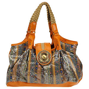 SR Squared by Sondra Roberts Printed Sequin Shoulder Bag
