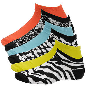Steve Madden Women's SM27226A 6-Pack Patterned and Solid Low Cut Socks