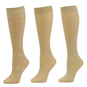 Chinese Laundry Women's 3528 3-Pack Knee High Trouser Socks