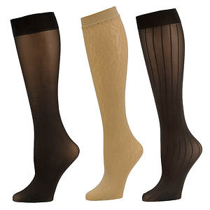 Chinese Laundry Women's 3530 3-Pack Knee high Trouser Socks