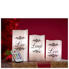 Live, Laugh, Love Color-Changing Candle Set