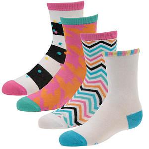Stride Rite Girls' 4-Pack Cassie Crew Socks
