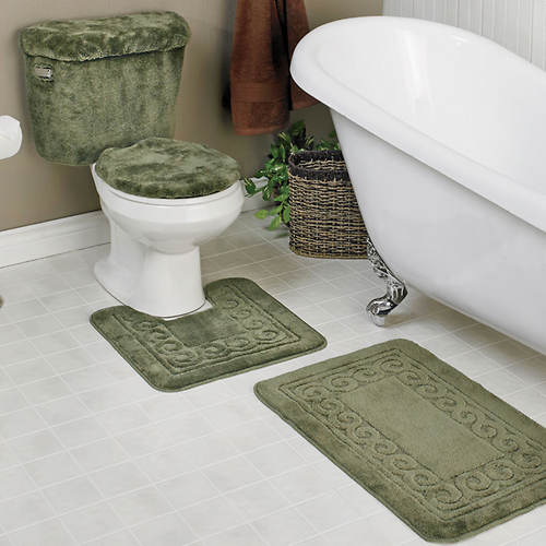 5 Piece Scroll Bath Rug Set Color Out, 5 Piece Bathroom Rug Set