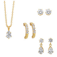 3-Piece CZ Pierced Earring & Necklace Set