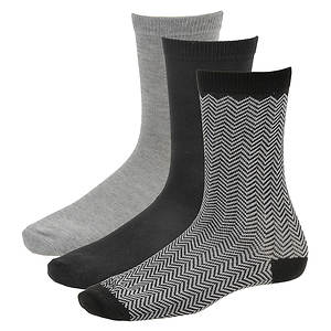 Steve Madden Women's SM26646B 3 PK Patterned Crew Socks
