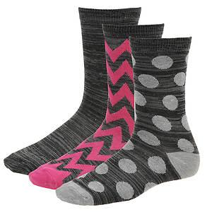 Steve Madden Women's SM29133 3-Pack Patterned Crew Socks