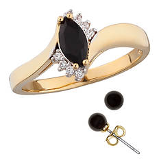 Genuine Onyx Ring and Earring Set