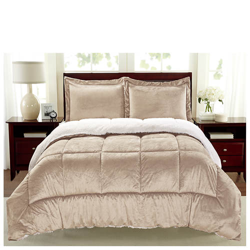Sherpa Faux Suede Comforter Set