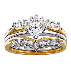 Two-Tone CZ Wedding Set
