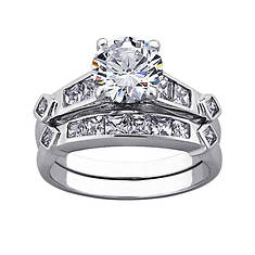 Sterling Silver CZ Round 2-Piece Women's Wedding Set