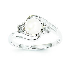 Sterling Silver 6mm Pearl and Diamond Ring