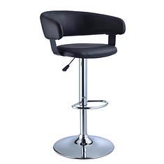 Faux Leather/Chrome Barrel Seat Adjustable Height 360° Swivel Barstool