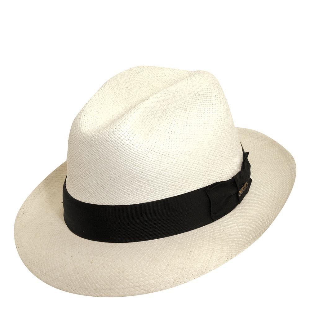 Mens 1920s Style Hats and Caps Scala Panama Mens Snap Brim Fedora White Hats M $119.95 AT vintagedancer.com